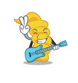 with guitar fusilli pasta mascot cartoon vector image vector image