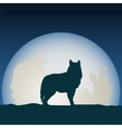 Wolf in front of the moon vector image vector image