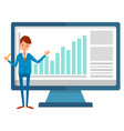 worker and monitor pc rising graph vector image vector image