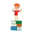 Boy stay on books vector image