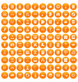 100 student icons set orange vector image vector image