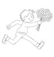 a cartoon boy running with flowers vector image vector image
