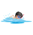 A little boy swimming vector image vector image