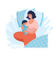 a young mother sleeps with a newborn bajoint vector image vector image