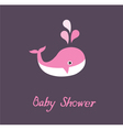 baby shower whale vector image vector image