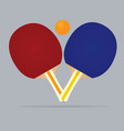 blue and red table tennis rackets and ball vector image