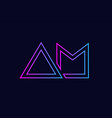 blue pink alphabet letter logo combination design vector image vector image