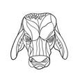 brahma bull head mosaic black and white vector image vector image