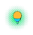 Bulb icon in comics style vector image vector image