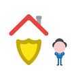 businessman character with guard shield under vector image