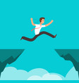 businessman jumping over canyon business vector image