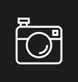 camera icon on black background vector image vector image