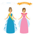 cartoon females in long gown night party dresses vector image vector image