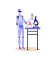 chemist robot holding glass beaker or test tube vector image vector image
