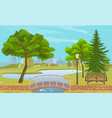 city park with a lawn and trees flat style green vector image vector image