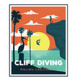 cliff diving california beach logo designs vector image