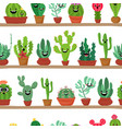 collection abstract cactuses in flower pot on vector image