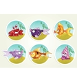 collection of marine life - fish crab snail vector image