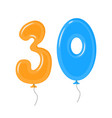 color balloons with numbers thirty decoration vector image vector image