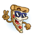 cool slice of pizza cartoon giving peace sign vector image vector image
