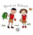 Couple of kids going back to school vector image