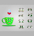 cute emoji set of green cup with changeable eyes vector image
