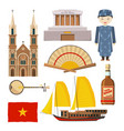 different pictures of vietnam symbols isolate on vector image vector image