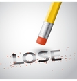 erase the lose vector image vector image
