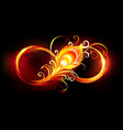 fiery infinity symbol with peacock feather vector image vector image