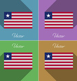Flags Liberia Set of colors flat design and long vector image vector image