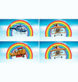 four scenes with airplane flying in sky vector image vector image
