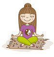 girl doing yoga woman sitting in half lotus pose vector image