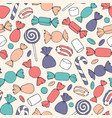 hand drawn candies canes and marshmallows pattern vector image vector image
