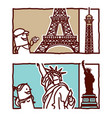 hand drawn cartoon characters - eiffel tower vector image