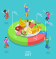 isometric flat concept ketogenic diet vector image