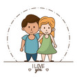 kids in love cartoon vector image vector image