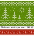Knitted christmas trees on green and red vector image