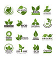 Leaf logo bio nature green eco symbols