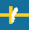 map and flag of sweden vector image vector image