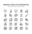 medical check up flat line icons health vector image vector image