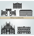 Milan landmarks and monuments vector image