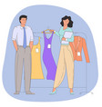 people choosing clothes in clothing store vector image