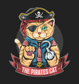 pirates cat artwork with editable layers vector image