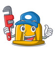 plumber construction helmet mascot cartoon vector image