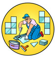 professional worker laying tile repair work vector image vector image