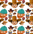 Seamless head of cowboys and lumberjacks vector image