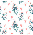 seamless pattern hearts holly berries branch vector image