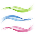 set of abstract colored wavesbluegreen and pink vector image vector image