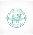 sheep farm framed retro badge or logo template vector image vector image