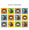 sloth face emotions collection funny cartoon vector image